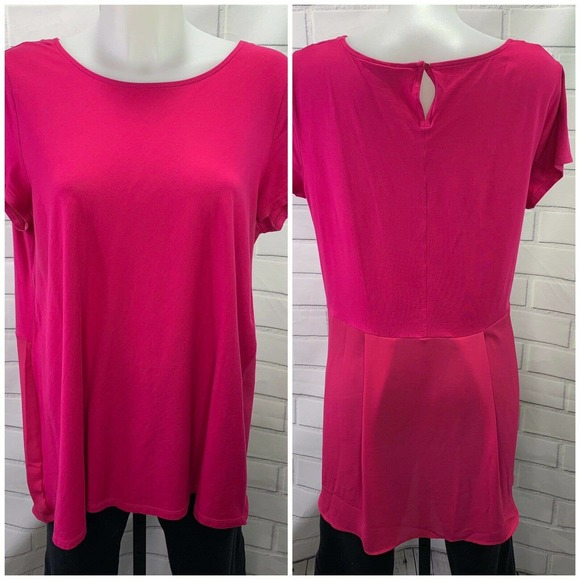 Lands End Top Size XL 18 Short Sleeve Pink Tunic